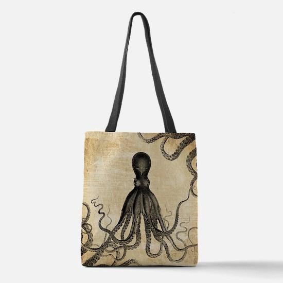 Vintage Octopus Polyester Tote Bag