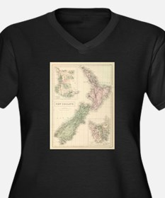Vintage Map of New Zealand (1854 Plus Size T-Shirt