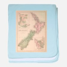 Vintage Map of New Zealand (1854) baby blanket