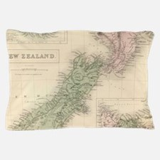 Vintage Map of New Zealand (1854) Pillow Case