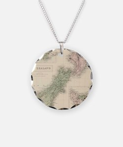 Vintage Map of New Zealand ( Necklace Circle Charm