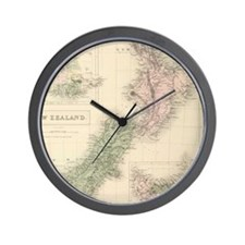 Vintage Map of New Zealand (1854) Wall Clock
