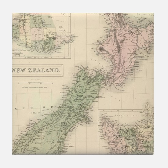 Vintage Map of New Zealand (1854) Tile Coaster
