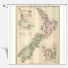 Vintage Map of New Zealand (1854) Shower Curtain