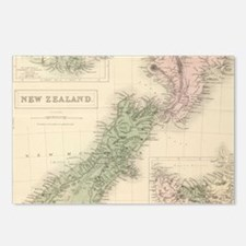 Vintage Map of New Zealan Postcards (Package of 8)