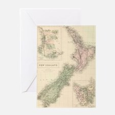 Vintage Map of New Zealand (1854) Greeting Cards