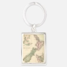 Vintage Map of New Zealand (1854) Keychains