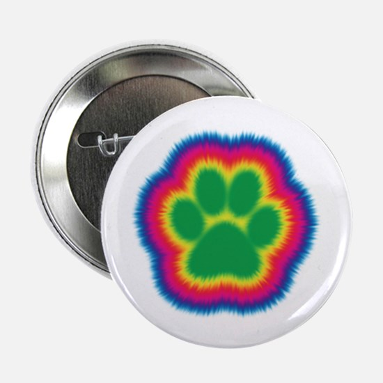 """Tye Dye Paw Print 2.25"""" Button (10 pack)"""