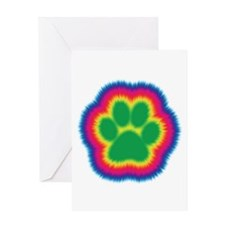 Tye Dye Paw Print Greeting Card