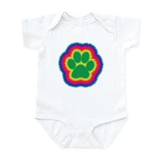 Tye Dye Paw Print Infant Bodysuit
