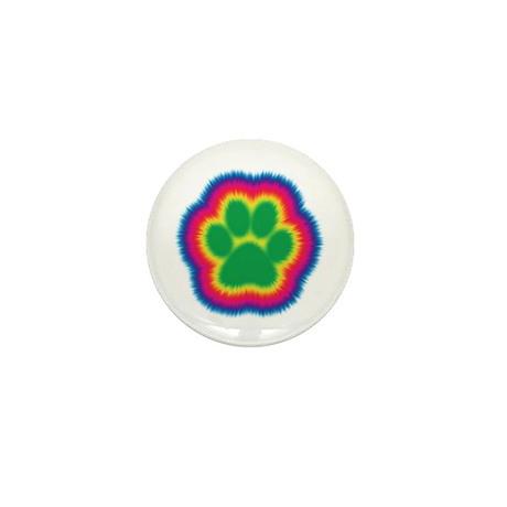 Tye Dye Paw Print Mini Button (10 pack)