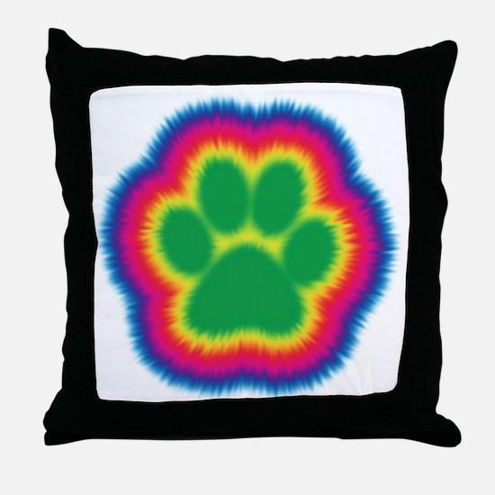 Tye Dye Paw Print Throw Pillow
