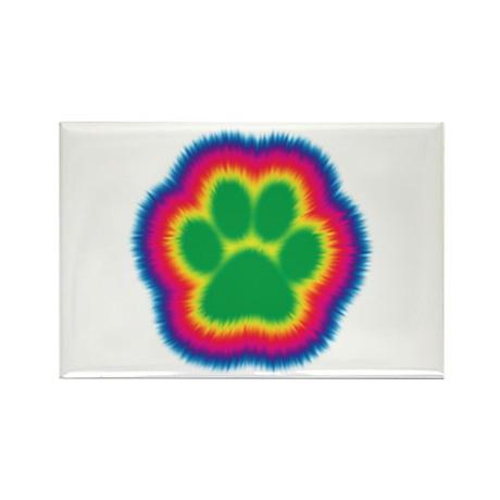 Tye Dye Paw Print Rectangle Magnet