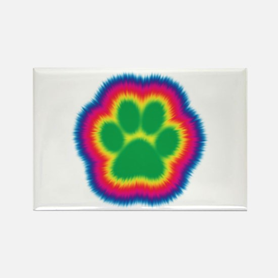 Tye Dye Paw Print Rectangle Magnet