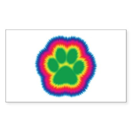 Tye Dye Paw Print Rectangle Sticker