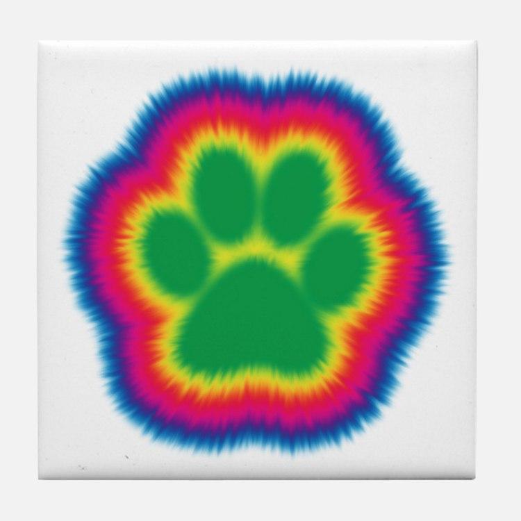 Tye Dye Paw Print Tile Coaster