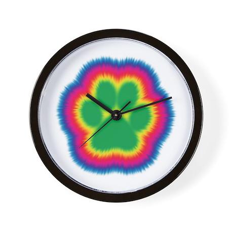 Tye Dye Paw Print Wall Clock