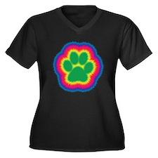 Tye Dye Paw Print Women's Plus Size V-Neck Dark T-