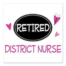 "Retired District Nurse Square Car Magnet 3"" x 3"""
