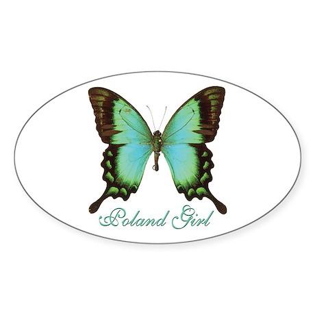 Poland Girl Oval Sticker