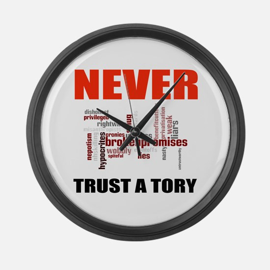 Never Trust a Tory (words) Large Wall Clock