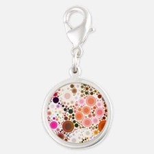 mod circles pattern Silver Round Charm