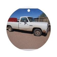 Antique White Truck Ornament (Round)