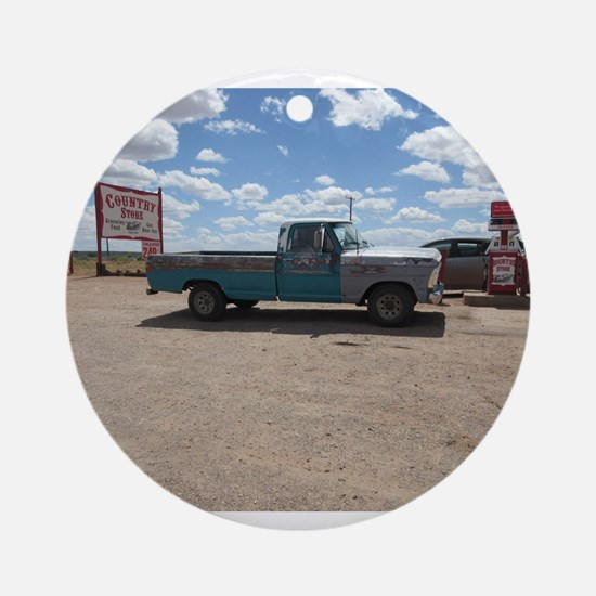 Old Turquoise Truck Ornament (Round)