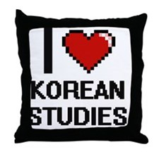 I Love Korean Studies Throw Pillow