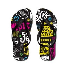 Rock N Roll Word Collage Flip Flops