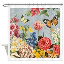 Modern Vintage botanical flowers Shower Curtain
