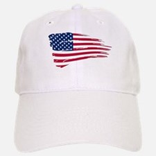 Tattered US Flag Baseball Baseball Cap