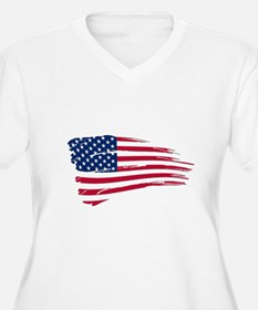 Tattered US Flag Plus Size T-Shirt