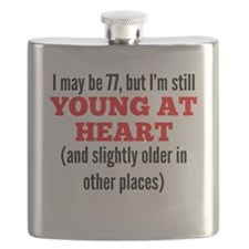 77 Years Old Young At Heart Flask