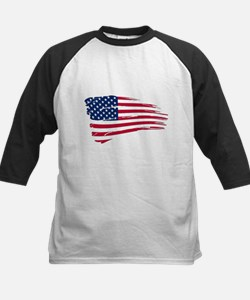 Tattered US Flag Baseball Jersey