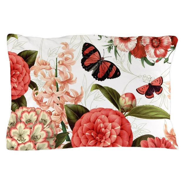 Modern vintage botanical flowers Pillow Case by DesignsbyHeatherMyers1