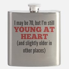 70 Years Old Young At Heart Flask