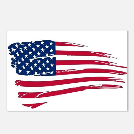 Tattered US Flag Postcards (Package of 8)