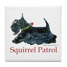 Scottie Squirrel Patrol Tile Coaster