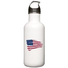 Tattered US Flag Sports Water Bottle