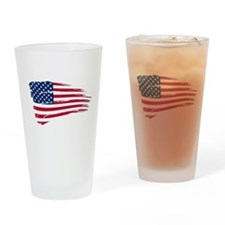 Tattered US Flag Drinking Glass