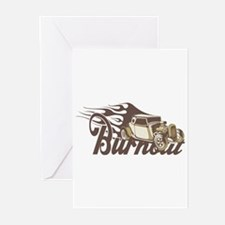 Hot Rod Burn Out Greeting Cards