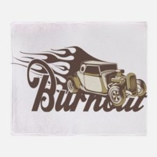 Hot Rod Burn Out Throw Blanket