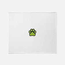 Lime green paw print basic Throw Blanket