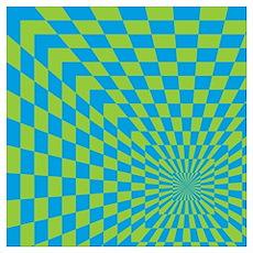 Checkered Optical Illusion Poster