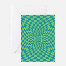Checkered Optical Illusion Greeting Cards