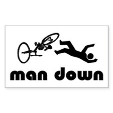 cyclist down Rectangle Bumper Stickers