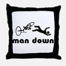 cyclist down Throw Pillow