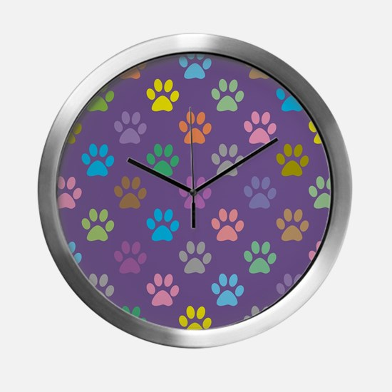 Colorful paw prints pattern Modern Wall Clock
