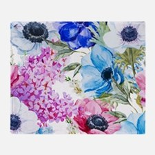 Chic Watercolor Floral Pattern Throw Blanket